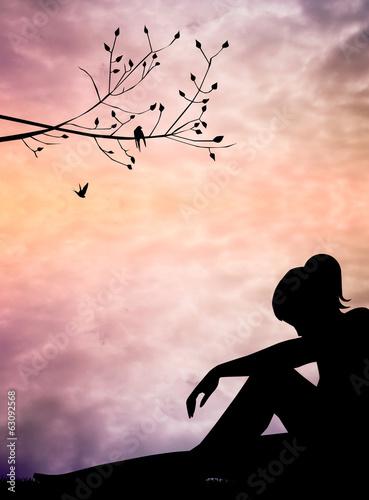 melancholic woman Wall mural