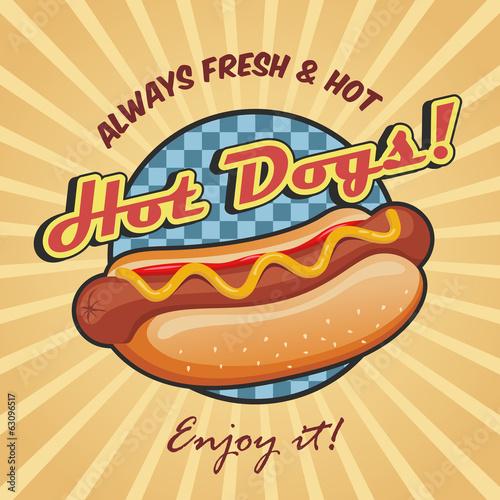 Fotografia, Obraz American hot dog poster template