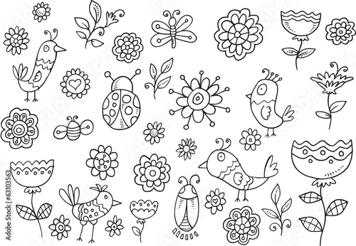 Wall Murals Cartoon draw Springtime Bird Flower Vector Doodle Set
