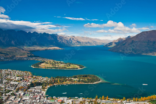 Aluminium Prints New Zealand closeup of queenstown with lake Wakatipu from top at noon.