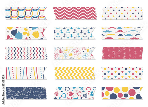 Washi tape strips, scrapbook elements Fotobehang
