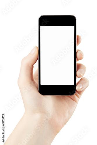Foto  Frauenhand, die den Smartphone lokalisiert mit Beschneidungspfad hält