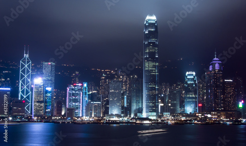 Night shot of Hong Kong financial center and the Victoria habour