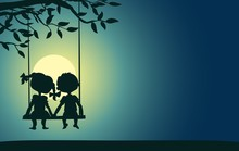 Moonlight Silhouettes Of A Boy And Girl