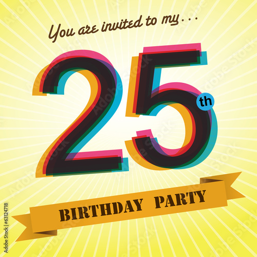 25th Birthday Party Invite Template Design Retro Style