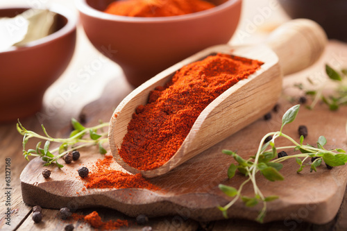 Canvastavla red ground paprika spice in wooden scoop and bowl