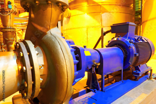 Factory equipment.Electric motor of pumps Canvas Print