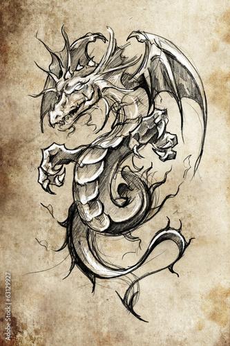 dragon-lizzard-szkic-tatuaz-recznie-projektowac-na-vintage-pape