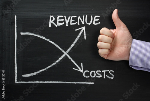 Fotografía  Revenue Versus Costs on a Blackboard with Thumbs Up