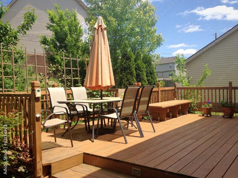 Fototapety, obrazy: Summer garden and deck
