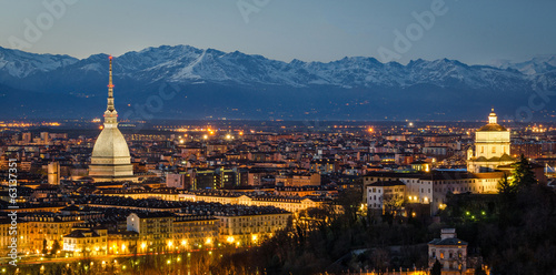 Turin (Torino), night panorama with Mole Antonelliana and Alps Fototapeta