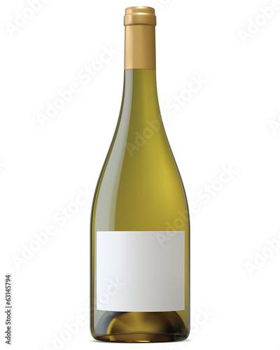 Fotografia  Burgundy wine bottle with blank labels isolated. Vector illustra