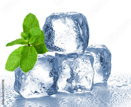 ice cubes and mint