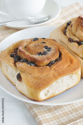 Photo  Chelsea Buns a traditonal British pastry made with dried fruit