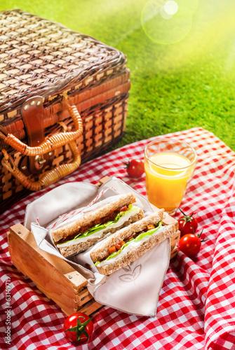 Stickers pour portes Pique-nique Summer picnic sandwiches