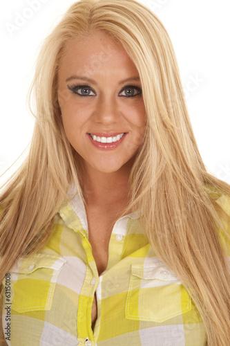 Fotografie, Tablou  cowgirl green plaid shirt close smile