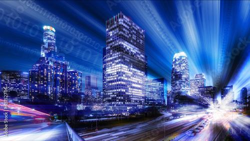 Composite of Los Angeles with binary code © David Crockett