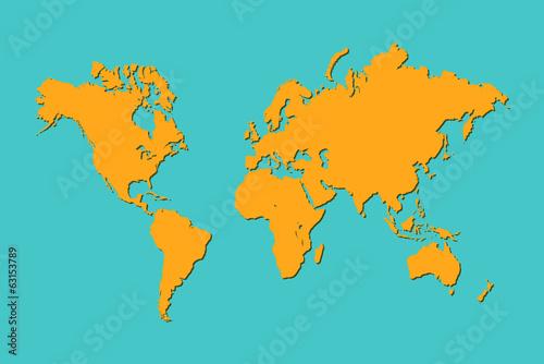 Türaufkleber Weltkarte World Map, Illustration