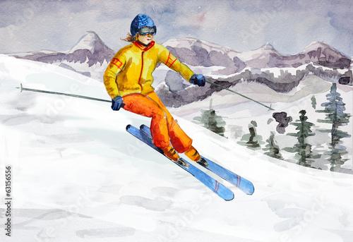 Garden Poster Winter sports Winter mountain landscape. watercolor