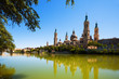 Summer view of of Cathedral in Zaragoza from Ebro