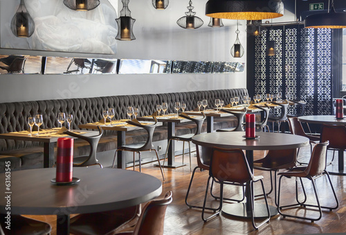 Fotobehang Restaurant interior of new restaurant