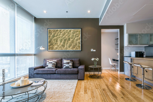 Fotografia, Obraz  living room with big window and brown wall interior