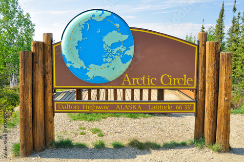 Arctic circle sign in dalton highway, Alaska