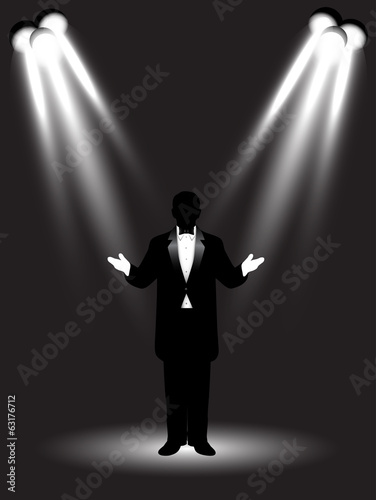 silhouette artist on stage Canvas-taulu