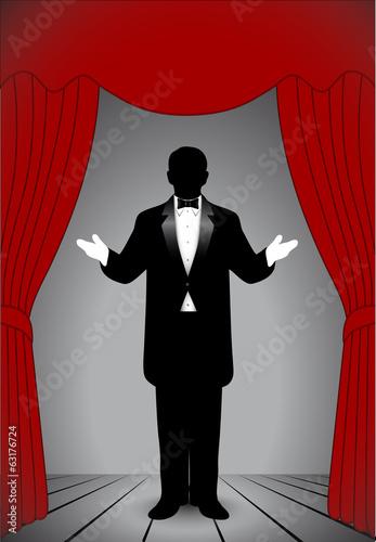 silhouette artist on stage Slika na platnu