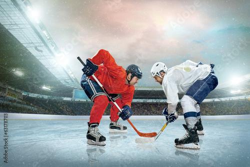 fototapeta na lodówkę Hokeista na lodzie. Otwarty stadion - Zima Klasyczna gra