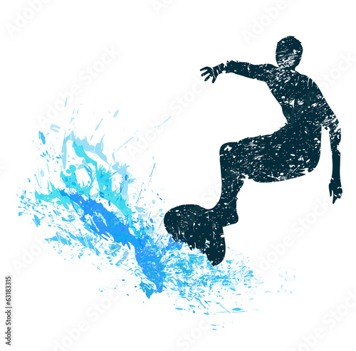 silhouette of a surfer in grunge style splashes #63183315
