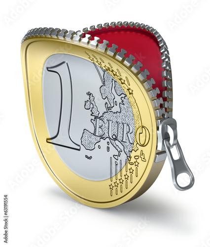 Fotografia  Euro coin with zipper