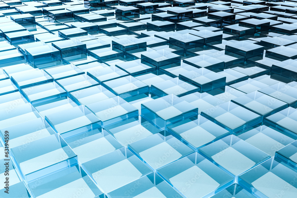 Fototapeta abstract glass cubes background