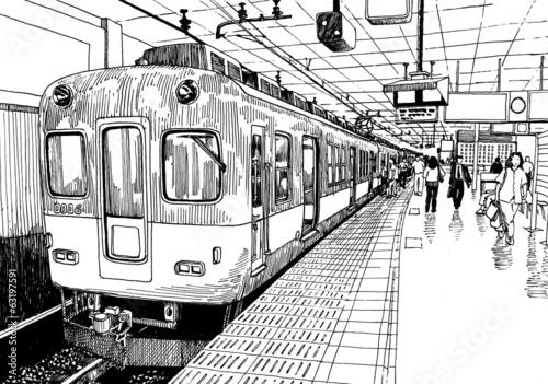 Line Art Train : Train station drawing pixshark images