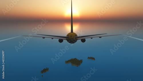 avion de pasajeros e islas