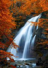 Beautiful Waterfall. Autumn