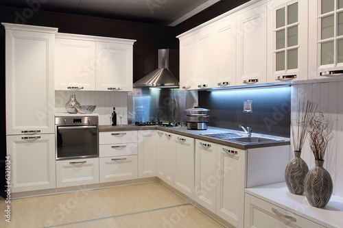 Photo  Modern cream coloured kitchen