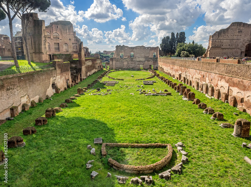 Fotografie, Obraz  Hippodrome Stadium of Domitian, Palatine Hill Rome
