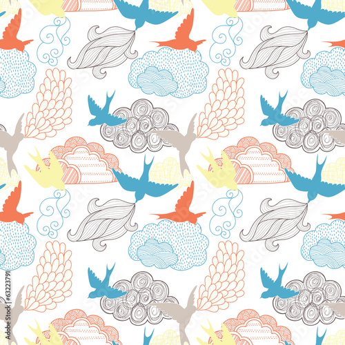 Aufkleber - Birds and clouds seamless pattern