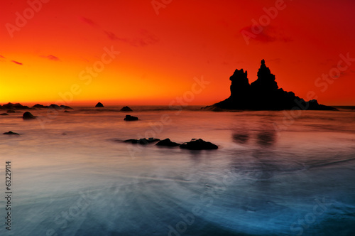 Spoed Foto op Canvas Rood traf. Rock formations at Benijo beach in Canary Islands.