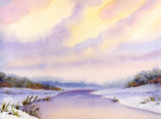 Panel Szklany Malarstwo Watercolor winter landscape. Evening sky over river