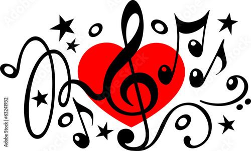 Canvastavla Musik Noten Herz Notenschlüssel Vektor