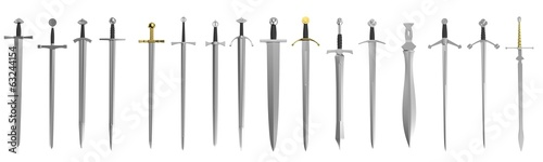 realistic 3d render of swords Wallpaper Mural