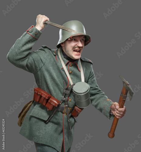Photo  German infantryman during the first world war.