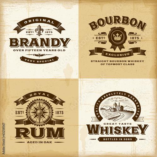 Fotografia  Vintage alcohol labels set