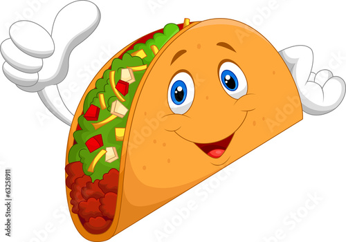 Fotografie, Obraz  Taco cartoon giving thumb up