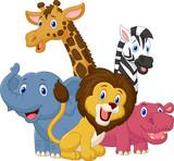 Fototapeta Fototapety na ścianę do pokoju dziecięcego - Happy safari animal cartoon
