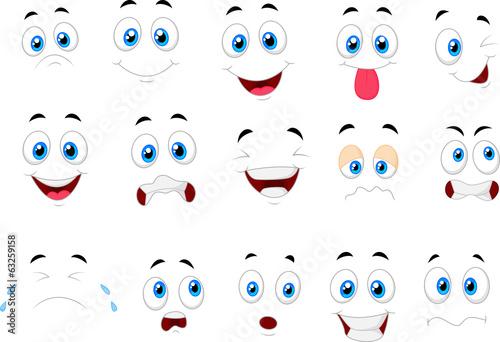 Stampa su Tela Cartoon of various face expressions