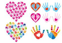 Hand Print Hearts, Vector Set