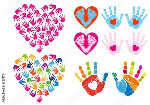 Valokuva  hand print hearts, vector set